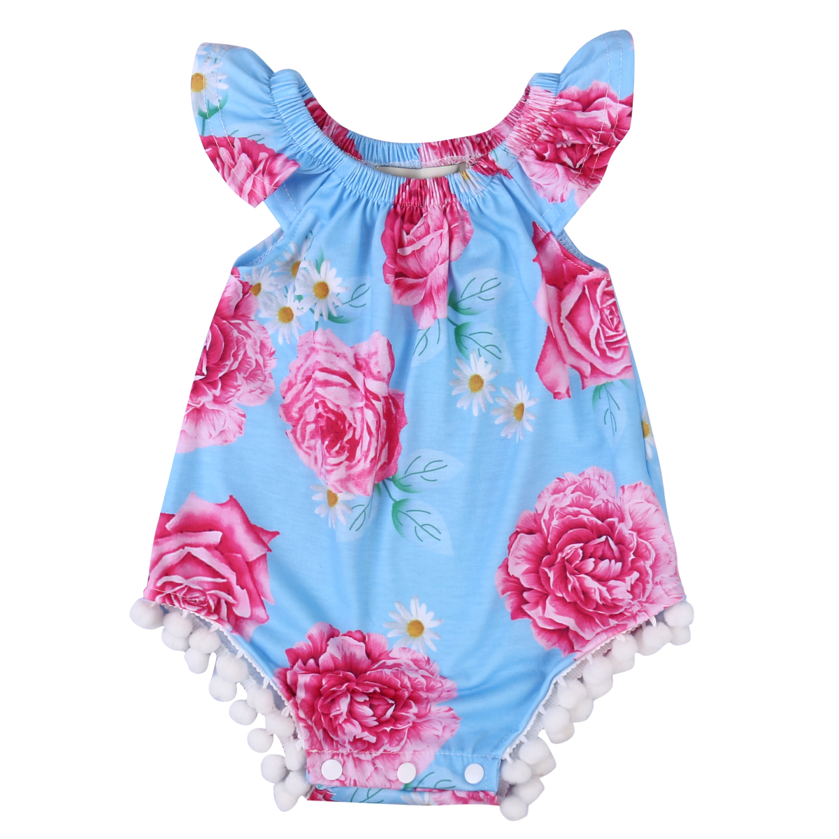 Cotton Newborn Infant Baby Girls Floral Romper Jumpsuit Clothes Outfits 0-24M