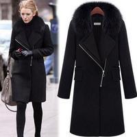 XL 6XL Plus size new autumn/winter woolen coat with fur collar black women thicken warm coat outwear T845