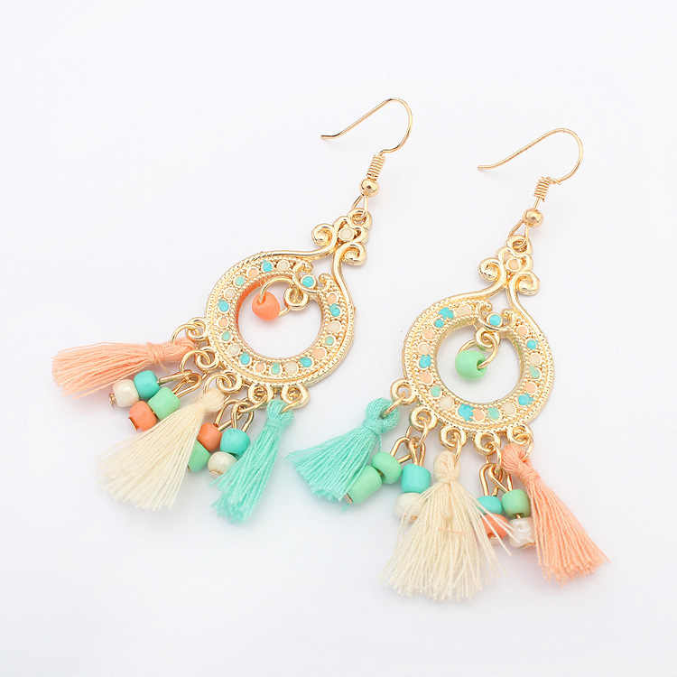Fashion Statement Drop Earrings for Women Party New Indian Jewelry Bohemian Long Tassel Earrings