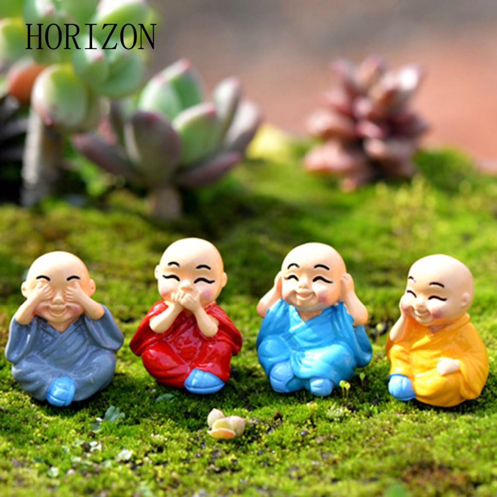 Buddhist Monk Mini Figurine Dolls Anime Action Figure Fairy Garden Terrarium Miniatures Micro Landscape Decor Home Decorations