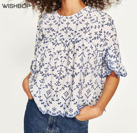 WISHBOP 2017 Woman Blue White Short Top Round Neck Half Length Sleeves With Ruffles Button Up