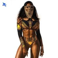 2018 New Women African Print Bikini Set Swimwear Push Up Padded Bra Long Sleeve Swimsuit Beachwear