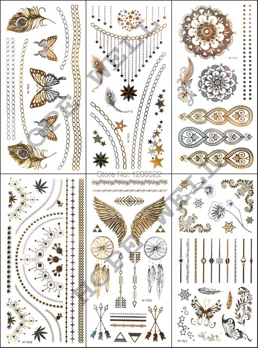 12 Sheets / lot gold Silber Metall Flash Tattoo Metallic Tattoo Aufkleber Temporäre Körperkunst mann frauen Strand Tattoos 12 Modelle Wählen