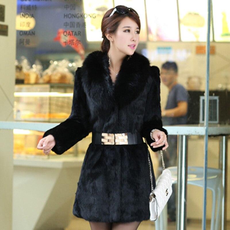 Manteau de fourrure de lapin véritable femmes pleine peau veste de fourrure de lapin naturel vêtements chauds féminins avec col de fourrure de renard réel grande taille S-5XL