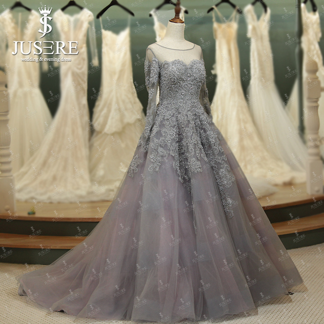 Illusion neckline long sleeves appliques bead ball gown for Dresses for silver wedding anniversary