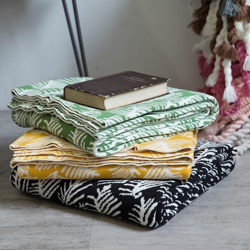 Dunxdeco manta tejer algodón cobertor bosque verde moderno hoja ...