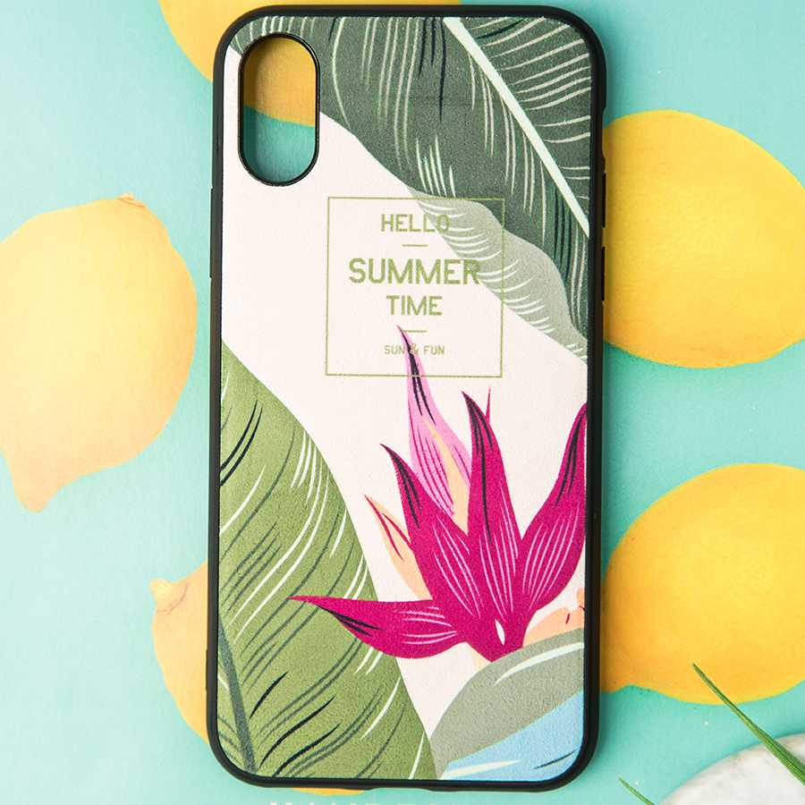 IMIDO Fabric Nordic Plant TPU Soft Silicone Cases For iphone 6 7 8 X Cute Simple Anti fall Lanyard Fashion Phone Back Cover