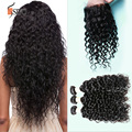 7a brasileira onda de água do cabelo virgem 4 pacotes com fecho brasileira onda ondulado natural brasileira feixes de cabelo com fecho de rendas