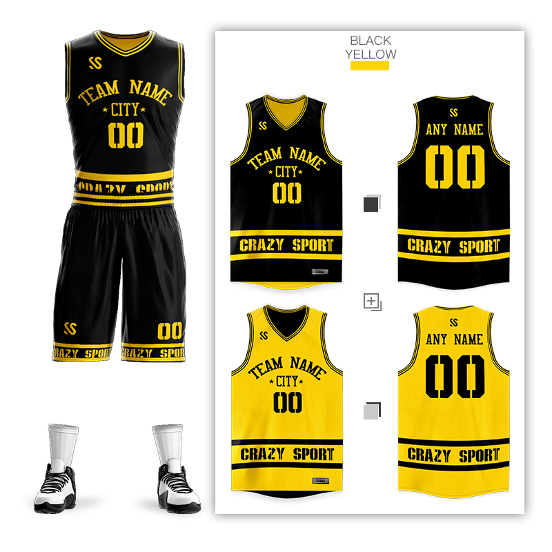 Custom DIY Basketball Jerseys Set Uniforms Kits Mens Child Reversible Basketball Shirts Shorts Clothes Double-side Sportswear