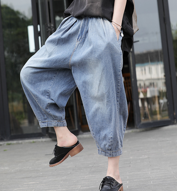 Autumn Jeans Women Retro Large size Loose Denim Trousers 2019 New Ladies Elastic Waist Button pocket Bleached Casual Pants(China)