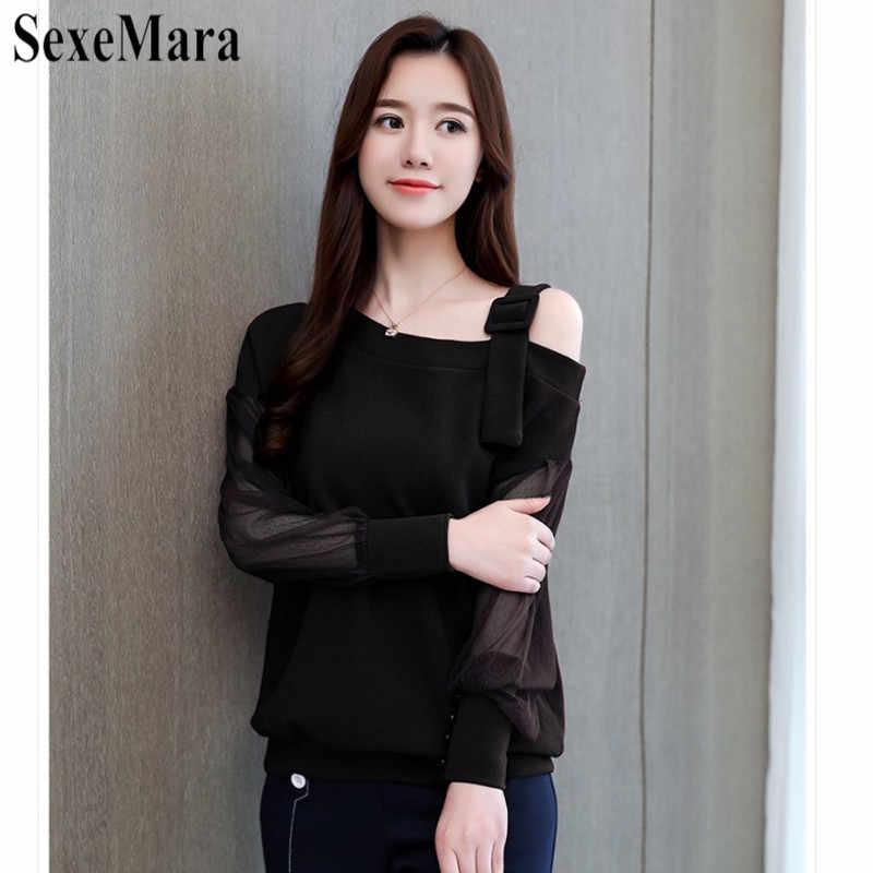 SexeMara/2019 новая весенняя Сексуальная Однотонная рубашка без бретелек с сетчатым воротником и длинными рукавами, черная, красная, S-2XL