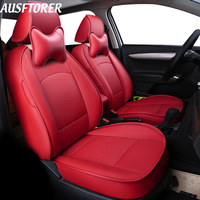 AUSFTORER Automobiles Seat Covers for Citroen C5 PVC Leather Car Seat Cover Set Custom Fit Cushion Supports Interior Accessories