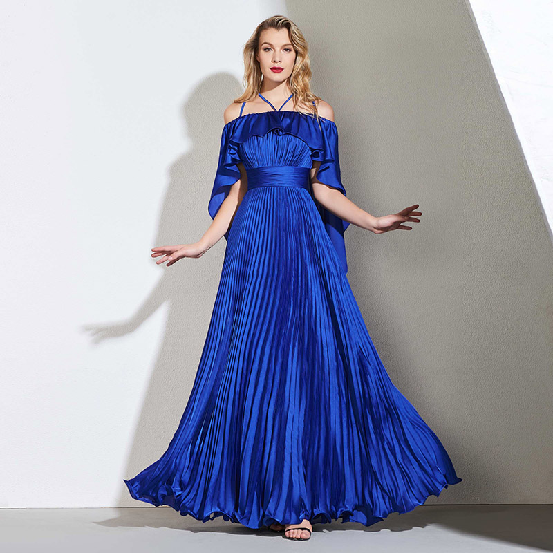 Tanpell pleats prom dresses dark royal blue short sleeves floor length a line gown women celebrity