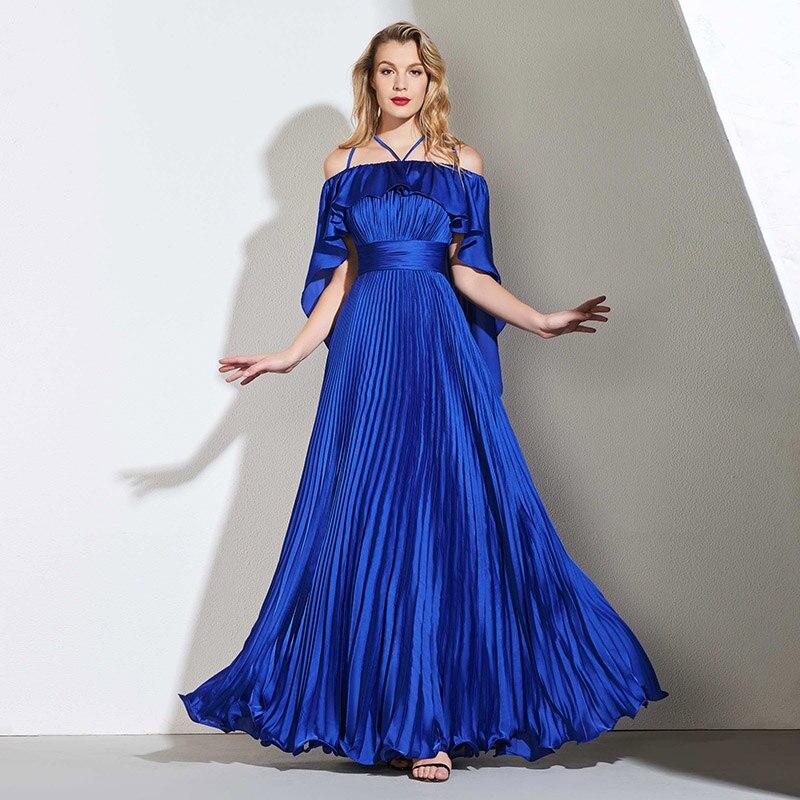 Tanpell pleats   prom     dresses   dark royal blue short sleeves floor length a line gown women celebrity custom long formal   prom     dress