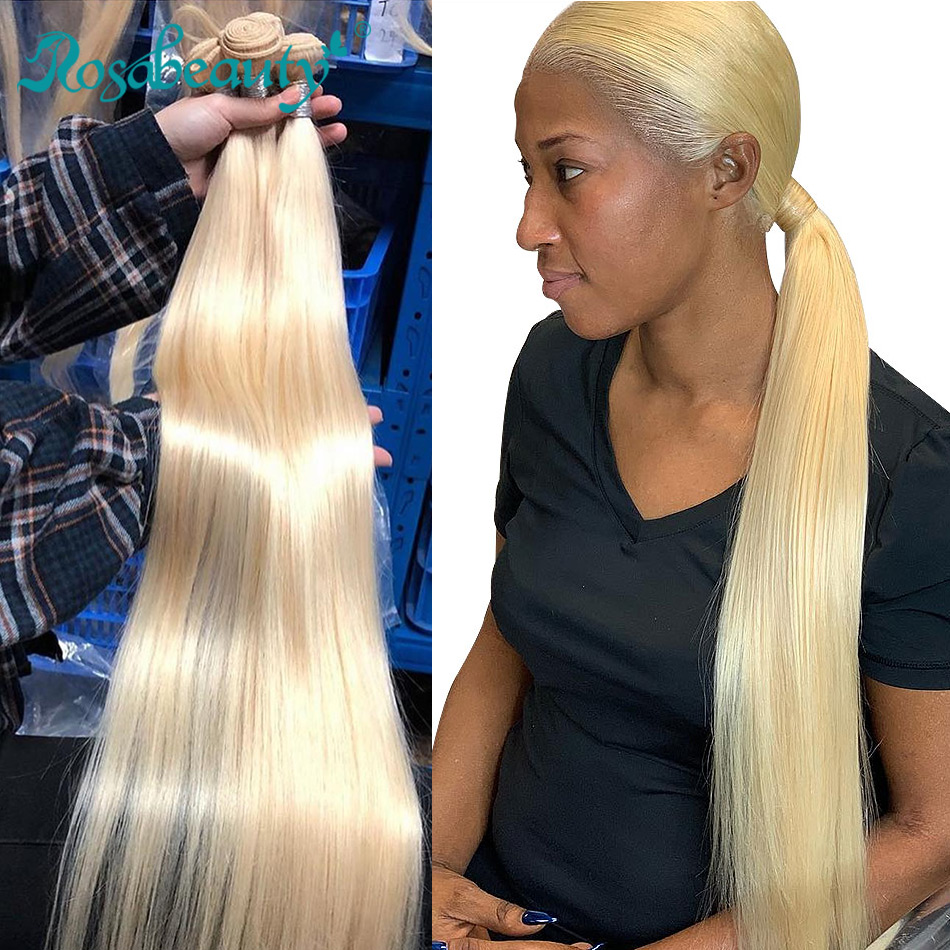 Rosabeauty Blonde Straight Human Hair 613 Color Hair Weave Bundles 1 3Pcs Remy Brazilian 613 Full