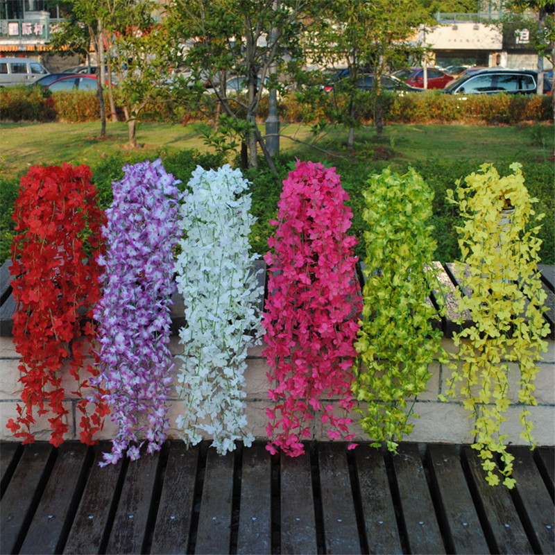 Artificial Vine Flowers Silk Fake Wisteria Ivy Vine Garden Hanging Flower Plant Simulation Vine Home Wedding Party Decor 9colors gold metal duvar saati