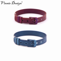 Vinnie Design Jewelry Stainless Steel Purple Blue Mesh Wrap Bracelet for 10mm Keeper Slide Charms 10pcs/lot
