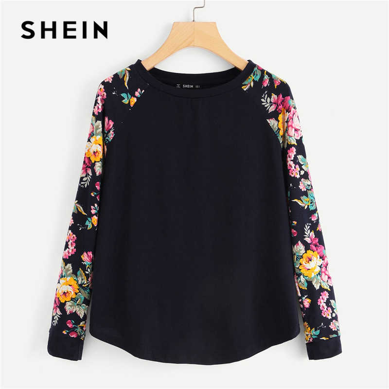 e30924bad5 SHEIN Navy Highstreet Elegant Floral Raglan Sleeve Curved Hem Long Sleeve  Tee 2018 Autumn Casual Women