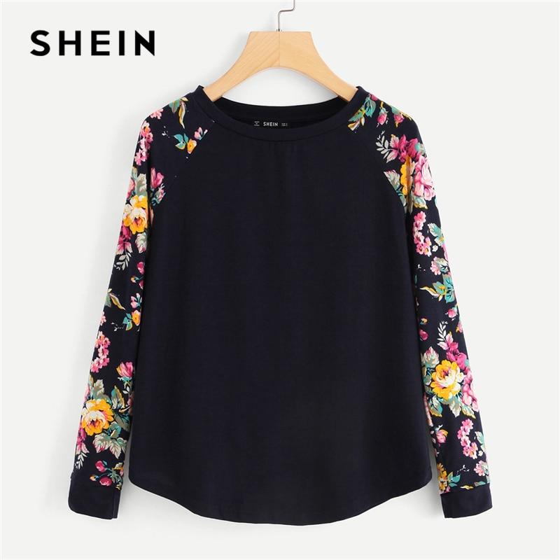SHEIN Navy Highstreet Elegant Floral Raglan Sleeve Curved Hem Long Sleeve Tee 2018 Autumn Casual Women T-shirt And Top