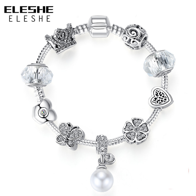 ELESHE Queen Jewelry Silver Charms Bracelet & Bangles Pearl Pendant With Clover Crown Beads Bracelet for Women Wedding