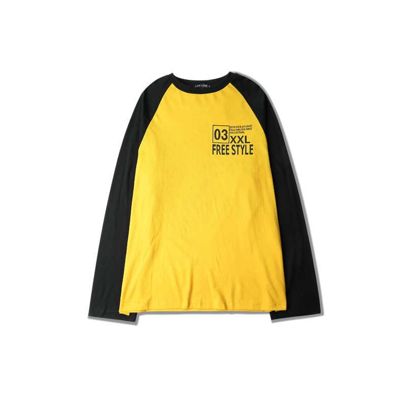 男性の長袖 tシャツ秋のラウンドネックカラールーズ手紙ヒップホップヨーロッパとアメリカのストリートスタイル