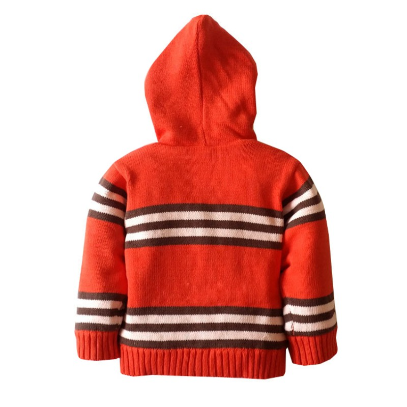 Baby Cotton Plus Velvet Thick Jacquard Sweater With Long Sleeve Comfortable For Dressing