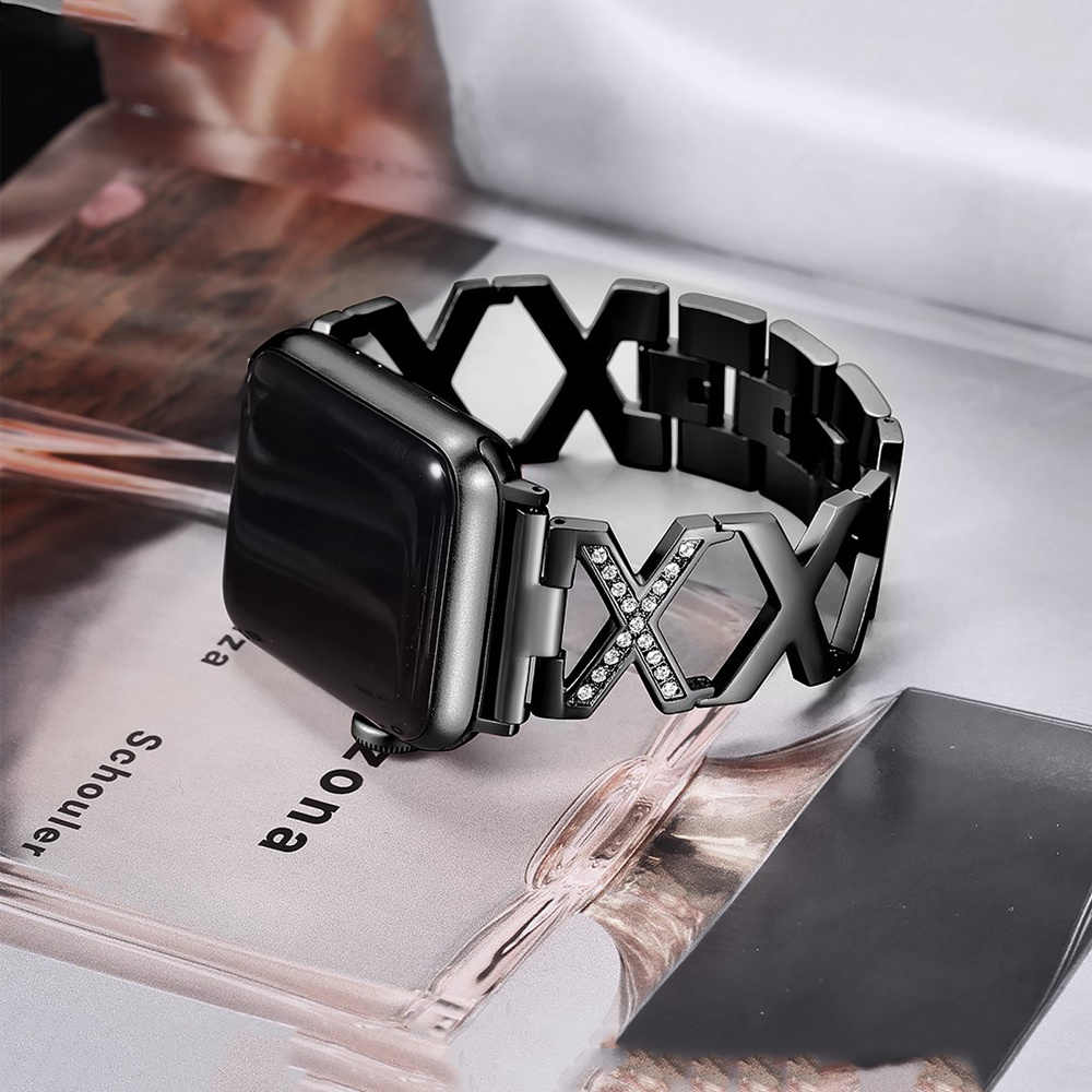 Women Diamond Wristband Strap For Apple Watch Band 38mm 42mm 44mm 40mm Stainless Steel Metal band For iWatch Series 5 4 3 2  1