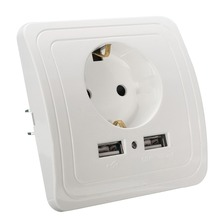 Outlet port eu socket panel plug wall arrival dual power adapter
