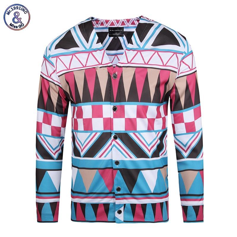 Mr 1991INC New Fashion Brand Men s Geometric Printing 3d Shirts Plaid Long Sleeve V neck