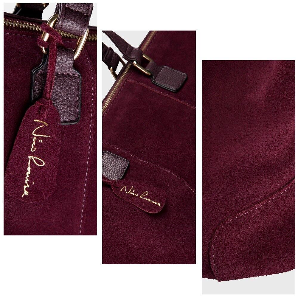 Femmes Réel de Split En Cuir Suédé sac fourre-tout Sac Mode Femelle Grand Loisirs Nubuck sac à main décontracté Voyager Top poignée de sacs - 3