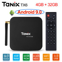 Tanix TX6 Android 9.0 Smart TV Box android Box Allwinner H6 4GB RAM 32GB ROM Support 4K H.265 2.4G/5GHz WiFi BT4.1 Media Player