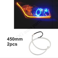 2x45cm Car LED Strip Daytime Running Light Flexible Soft Tube Guide Car LED Strip White DRL