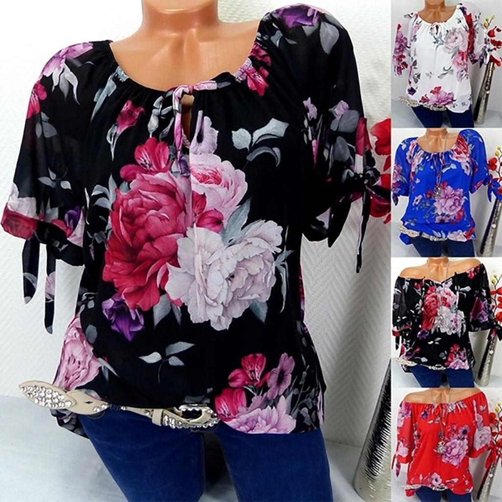 JAYCOSIN Plus Size Women Short Sleeve Blouse Print Off Shoulder Blouse Pullover Tops Stylish Loose Lady Shirt