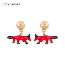 Сочные виноград французский стиль Креативный красный ручной работы эмалированные серьги-капельки в форме животных для женщин серьги-гвоздики в виде лисы модные украшения