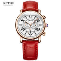 MEGIR 24 Hours Chronograph Analogue Quartz Watch for Lady Girl Women's Fashion Waterproof Red Leather Strap Wristwatch 2058