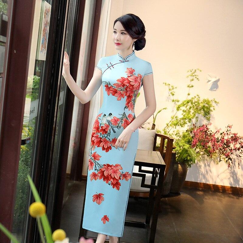 Весна Новый Классический Для женщин район Cheongsam в традиционном китайском стиле с цветочным принтом ручной работы Qipao Тонкий Ежедневно плать...