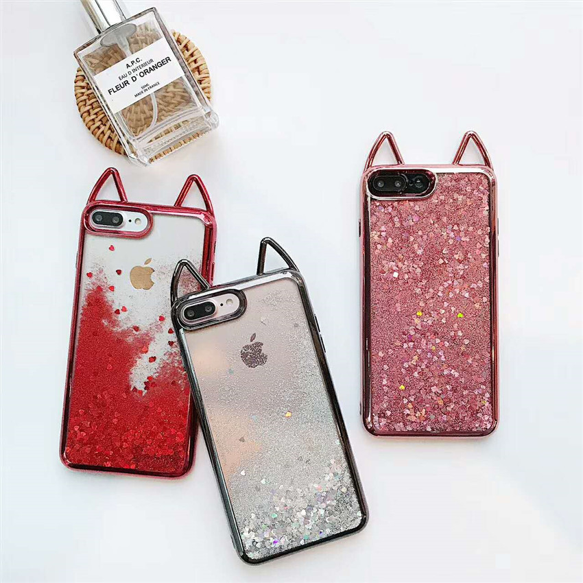 6f4dbe040e Liquid Glitter Silicon Case For iPhone 7 6S Coque Cute 3D Cat Ear Cover  Plating Clear Soft Phone Case For iPhone 6 6Plus 8 7Plus-in Fitted Cases  from ...