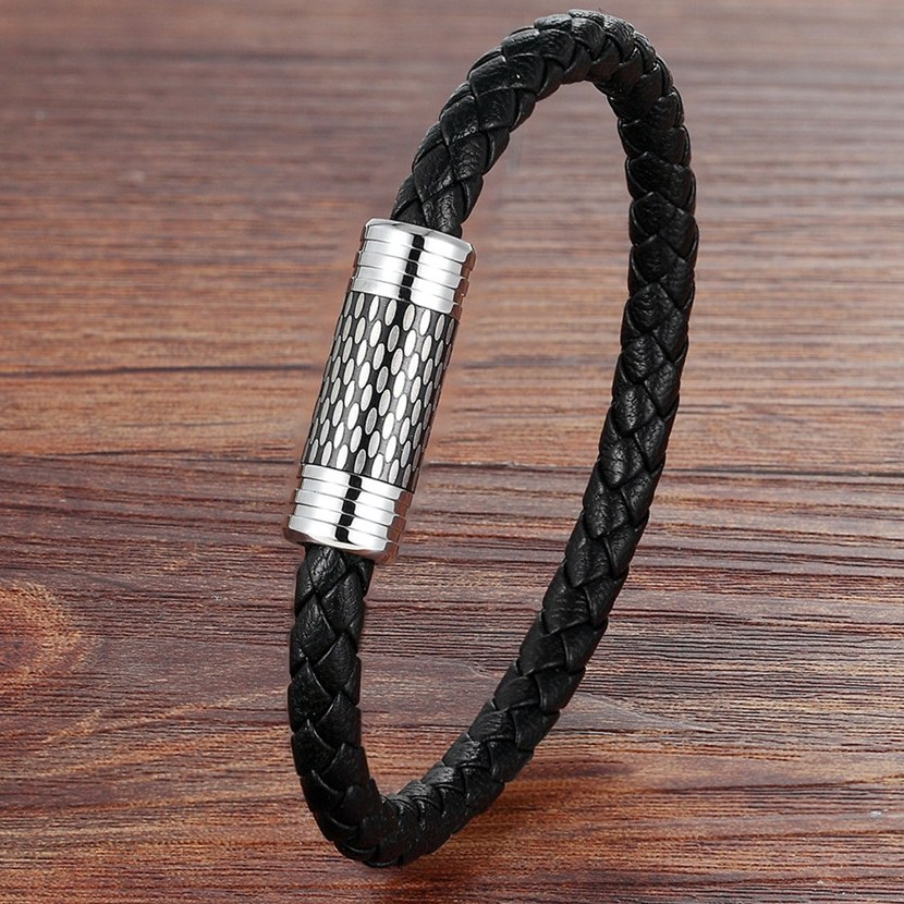 TYO Father's Day Gift Simple Design 5 Styles For Choices 19/21CM Genuine Leather Bracelet Stainless Steel Accessories Jewelry