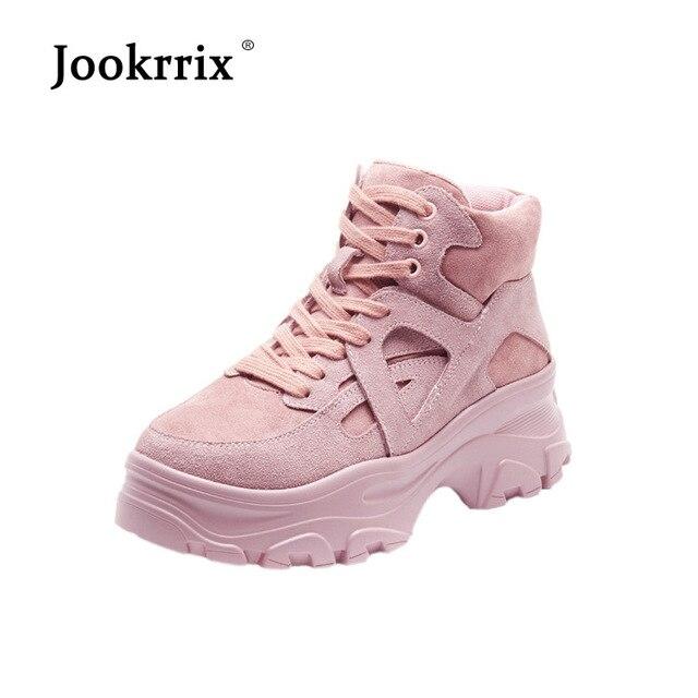 Jookrrix 2018 повседневная женская обувь модный бренд кроссовки женские chaussure осень, для женщин обувь с перекрестной шнуровкой черная обувь на платформе