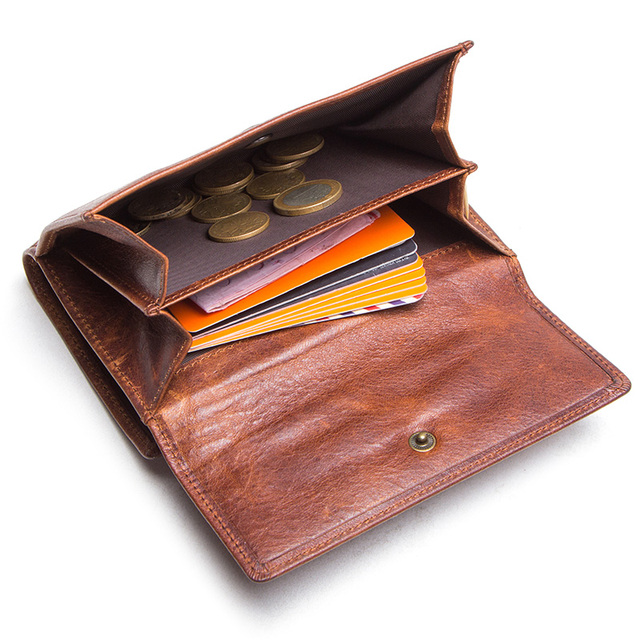 CONTACT'S crazy horse cow leather RFID men wallets credit card holders mens wallet with coin pocket brand walet male clasp purse 3