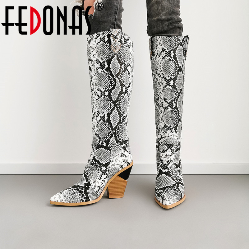 FEDONAS Sexy 2019 Women Knee High Boots New High Quality Autumn Winter Motorcycle Boots Ladies High Party Dancing Shoes Woman