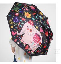 103cm anti-thunder fiberglass windproof 5 times black coating anti-UV fold parasol seamless combination elephant paper umbrella