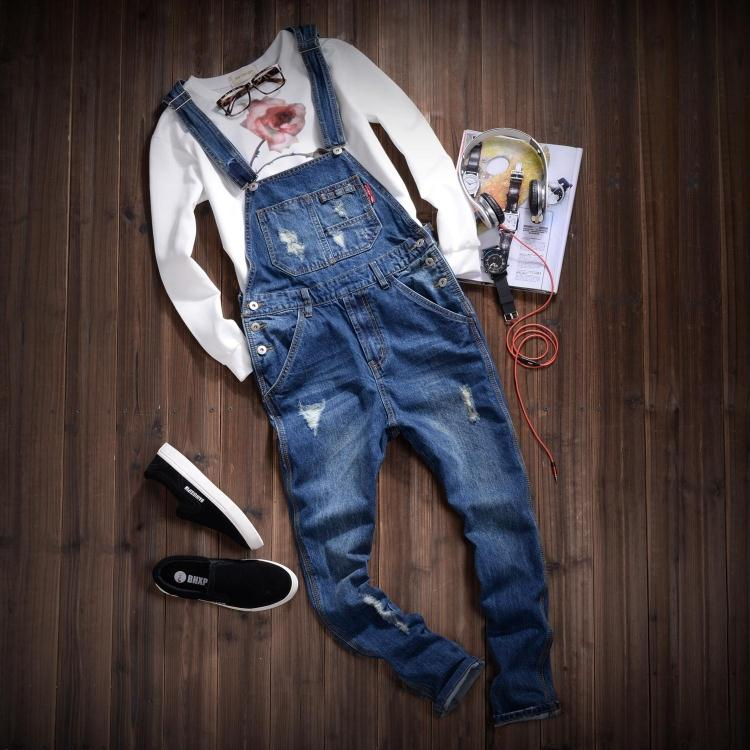 New Fashion Ripped Mens Denim Bib Overalls Jeans 2015 Brand Men's Clothing Casual Distrressed Jumpsuit Jeans Pants For Man MB388  new 2016 fashion brand women washed denim casual hole romper jumpsuit overalls jeans macacao feminino vintage ripped jeans
