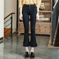 FINEWORDS 2017 Newest Summer Spring Black Elasticity Bottom Tassel Denim Flare Pants Women Skinny High Waist Bell Bottom Jeans