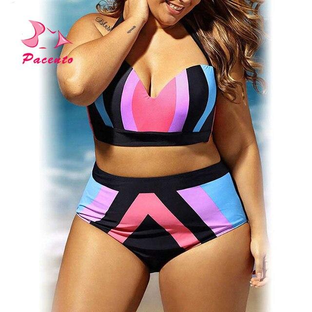 93d8e1f414389 Pacento New Large Size Swimwear Female High Waist Bikini Push-up Swimsuit  Bandage Print Bathing Suit Women XL XXL 3XL 4XL Plavky