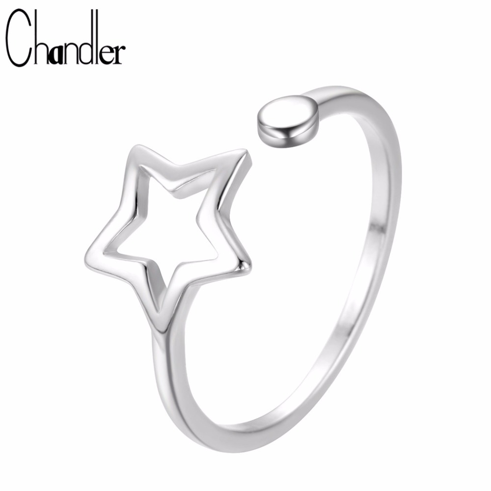 Charitable Chandler Hollow Star Ring Pentagram Delicate Promised Jewelry For Lover Open Anel Saint Valentine's Day Gift Casual Homme Bijoux