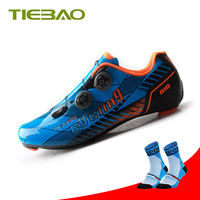 Tiebao fibra de carbono ciclismo sapatos estrada de ciclismo faixas de borracha atlético tênis mulher zapatillas deportivas hombre|Sapatos de ciclismo| |  -