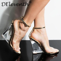 Deleventh Sandals for Women Transparent PU high heeled Shoes Summer Sandals sexy Elegant fashion Pointed Toe Wedges shoes