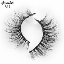 Genailish 3D Mink Eyelashes Upper Real Mink Lashes Soft Natural False Eyelashes 1 pair Handmade Fake Eye Lashes Extension-A13