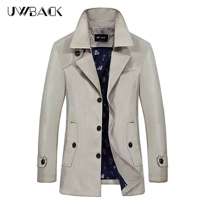 Uwback Hommes Tranchée Manteaux 2018 Printemps Marque De Mode Turn-Down Col Mince Hommes Veste Mince Plus La Taille M-9XL Casual manteaux Cool XA257